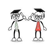 Estudiantes lindos de la historieta que gradúan con grados libre illustration