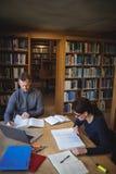 Estudiantes maduros que trabajan junto en biblioteca de universidad Imagenes de archivo