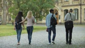 Estudiantes multirraciales que caminan con su decano a la academia, charlando sobre tesis almacen de video