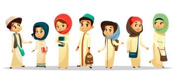 estudiantes musulmanes árabes de la historieta en sistema del hijab ilustración del vector