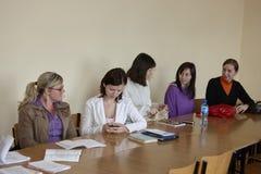 Estudiantes polacos en el examen final Fotografía de archivo