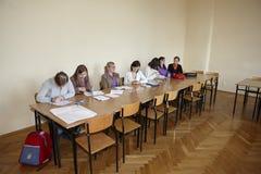 Estudiantes polacos en el examen final Foto de archivo libre de regalías