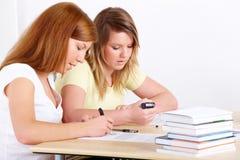 Estudiantes que aprenden en el escritorio Fotografía de archivo libre de regalías