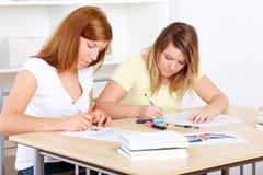 Estudiantes que aprenden en el escritorio Fotografía de archivo