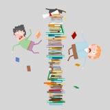 Estudiantes que caen apagado montaña de libros 3d Fotos de archivo libres de regalías