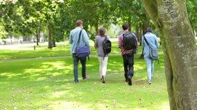 Estudiantes que caminan en la hierba almacen de metraje de vídeo