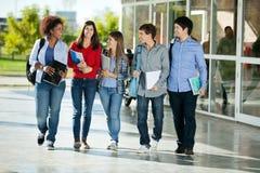 Estudiantes que caminan junto en campus de la universidad Foto de archivo libre de regalías