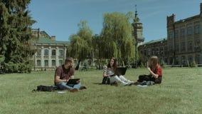 Estudiantes que comparten con las ideas en el césped del campus almacen de video