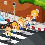 Estudiantes que cruzan el camino stock de ilustración