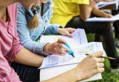 Estudiantes que hacen la preparación en el parque Imagen de archivo libre de regalías