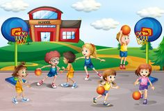 Estudiantes que juegan a baloncesto en la educación física stock de ilustración