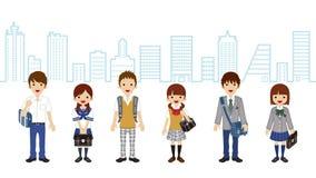 Estudiantes que se colocan - fondo de la ciudad