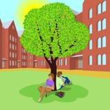 Estudiantes que se sientan debajo del árbol y que usan las tabletas ilustración del vector