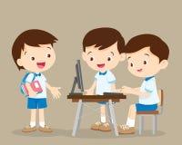 Estudiantes que trabajan con el ordenador stock de ilustración