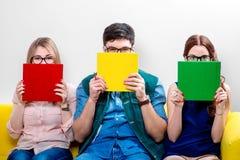 Estudiantes que trabajan en el sofá Fotografía de archivo libre de regalías
