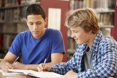 2 estudiantes que trabajan junto en biblioteca Imágenes de archivo libres de regalías