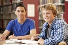 2 estudiantes que trabajan junto en biblioteca Imagen de archivo libre de regalías