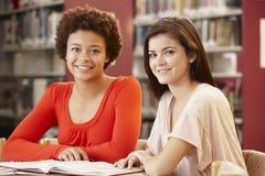 2 estudiantes que trabajan junto en biblioteca Fotografía de archivo libre de regalías