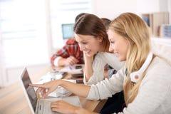 Estudiantes que trabajan junto en lapotp Fotografía de archivo