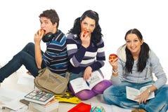Estudiantes sanos felices con las manzanas Imagen de archivo