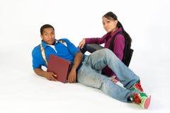 Estudiantes serios horizontales Imagen de archivo libre de regalías