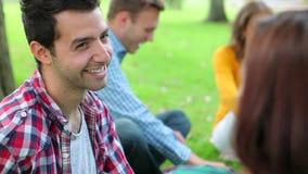 Estudiantes sonrientes que charlan junto en la hierba almacen de video