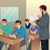 Estudiantes universitarios en el ejemplo de la sala de clase ilustración del vector