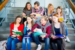 Estudiantes universitarios en las escaleras Imagen de archivo