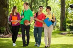 Estudiantes universitarios felices al aire libre Fotografía de archivo