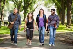 Estudiantes universitarios multiétnicos que caminan en campus Fotografía de archivo