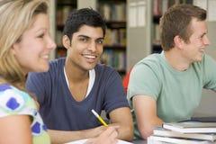 Estudiantes universitarios que estudian junto en una biblioteca imágenes de archivo libres de regalías