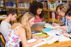 Estudiantes universitarios que hacen la preparación en biblioteca Foto de archivo libre de regalías