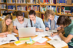 Estudiantes universitarios que hacen la preparación en biblioteca Imagen de archivo libre de regalías