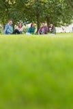 Estudiantes universitarios que se sientan en hierba en parque Imágenes de archivo libres de regalías