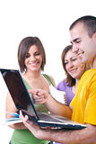 Estudiantes y computadora portátil Foto de archivo