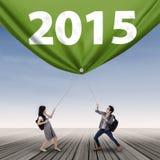 Estudiantes y número 2015 Imágenes de archivo libres de regalías