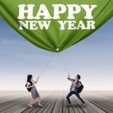 Estudiantes y texto del Año Nuevo Imagen de archivo libre de regalías