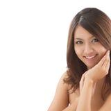 Estudio asiático de las mujeres de la belleza tirado con el textspace Foto de archivo