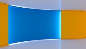 estudio Contexto perfecto para cualquier producción verde del chromakey de la pantalla Fondo amarillo y azul Pared amarilla Pared Imágenes de archivo libres de regalías
