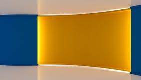 estudio Contexto perfecto para cualquier producción verde del chromakey de la pantalla Fondo amarillo y azul Pared amarilla Pared Imagen de archivo libre de regalías