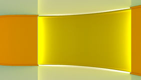 estudio Contexto perfecto para cualquier producción verde del chromakey de la pantalla Fondo amarillo y blanco, pared amarilla 3d Fotografía de archivo