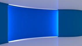 estudio Contexto perfecto para cualquier producción verde del chromakey de la pantalla Fondo azul y blanco, pared azul 3d Fotografía de archivo libre de regalías