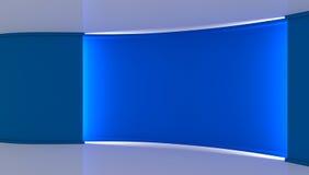 estudio Contexto perfecto para cualquier producción verde del chromakey de la pantalla Fondo azul y blanco, pared azul 3d Imagenes de archivo