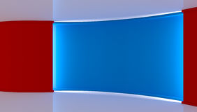 estudio Contexto perfecto para cualquier producción verde del chromakey de la pantalla Fondo rojo y azul Pared roja Pared azul 3d Foto de archivo