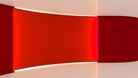 estudio Contexto perfecto para cualquier producción verde del chromakey de la pantalla Fondo rojo y blanco, pared roja 3d Imagen de archivo