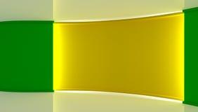 estudio Contexto perfecto para cualquier producción verde del chromakey de la pantalla Fondo verde y amarillo Pared verde Pared a Foto de archivo libre de regalías