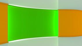 estudio Contexto perfecto para cualquier producción verde del chromakey de la pantalla Fondo verde y anaranjado Pared verde Pared Imagen de archivo
