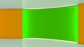 estudio Contexto perfecto para cualquier producción verde del chromakey de la pantalla Fondo verde y anaranjado Pared verde Pared Fotos de archivo