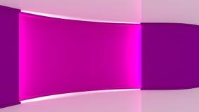 estudio Contexto perfecto para cualquier producción verde del chromakey de la pantalla Fondo violeta y blanco, pared violeta 3d Imagen de archivo libre de regalías