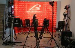 Estudio de 4 cámaras TV, Bucarest TV imagenes de archivo
